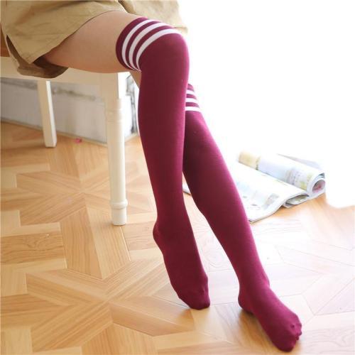 Three Striped Overknee Socks Sports Football Socks
