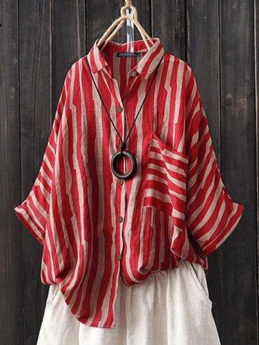 Red 3/4 Sleeve Cotton-Blend Shirt Collar Shirts & Tops