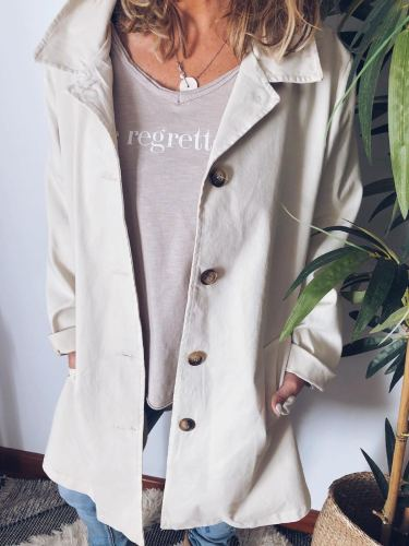 Plus Size Casual Solid Pockets Long Sleeve Outerwear