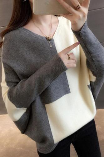 Fashion v-neck stitching color loose sweaters