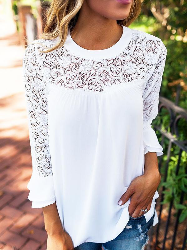 White Solid Crew Neck Laser Cut Casual Shirts &Blouse