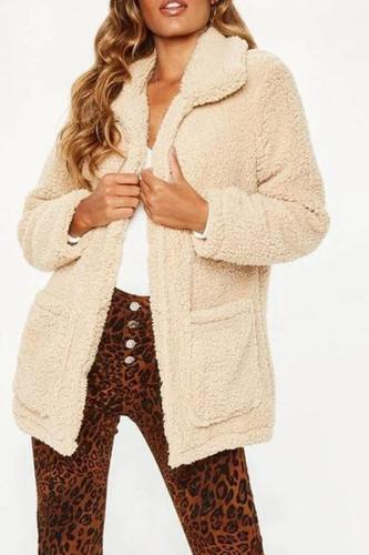 Lapel Long Sleeve Pocket Polar Fleece Fashion Jackets