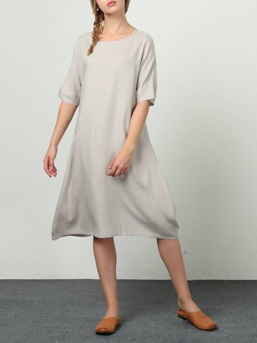 White Short Sleeve Crew Neck Cotton Dresses