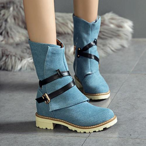 Women Plus Size Chunky Heel Adjustable Buckle Spring/Fall Boots