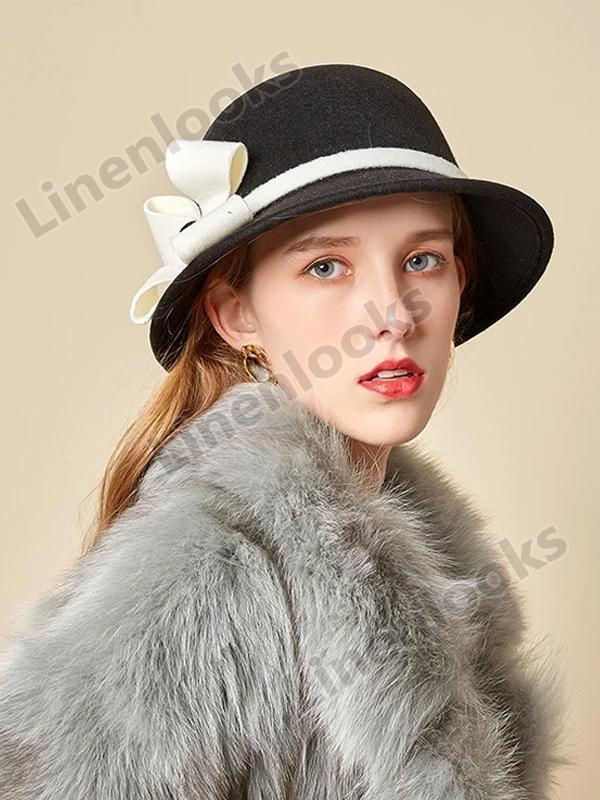 Woolen Fisherman Hat Lady Contrast Color Flower Felt Hat