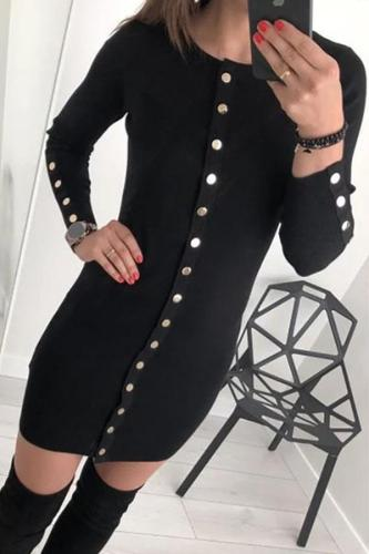 Casual Button Knitted Pure Colour Bodycon Dresses
