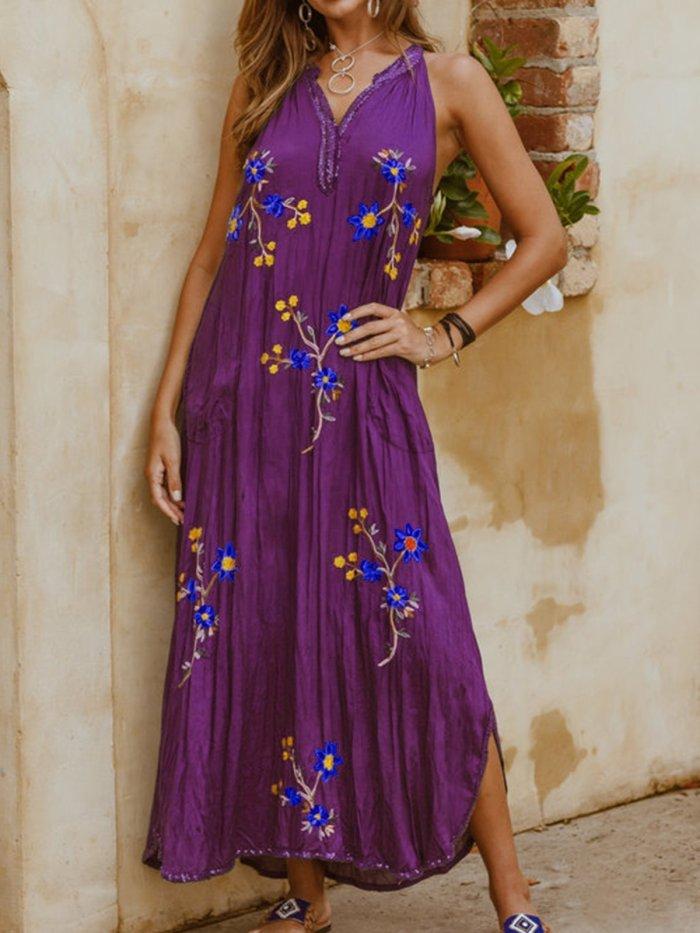 Sleeveless Floral V Neck Casual Dresses