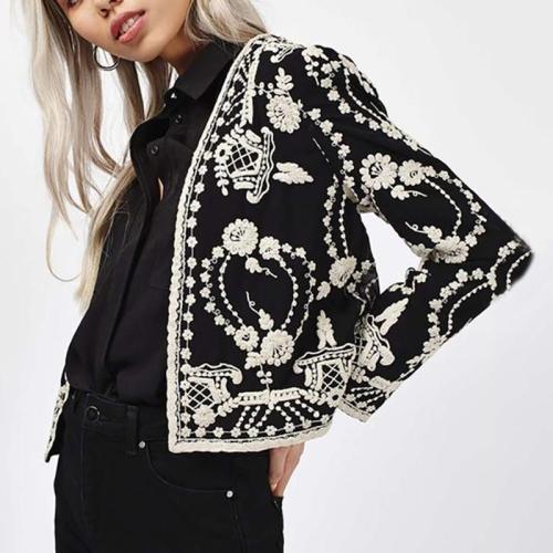 Women's VintagePrinted Color Long Sleeve Tight Blazer