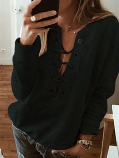 2019 Womens Fall/Autumn Sweatshirts Plain Casual Eyelet V Neck