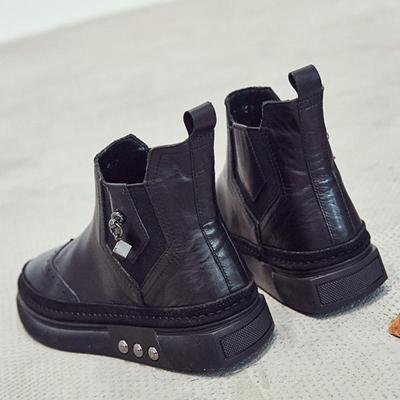 Womens Black Casual Winter Flat Heel Ankle Boots