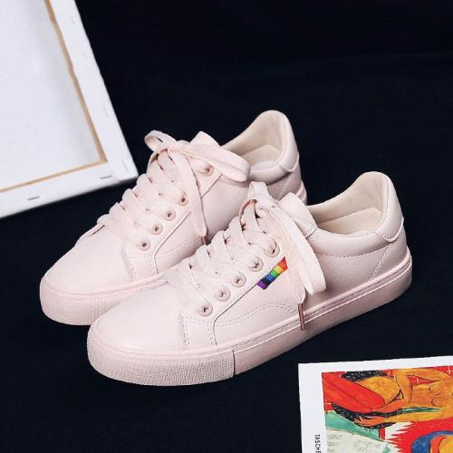 Women's Fashion Casual Solid Color Lace-Up Sneakers