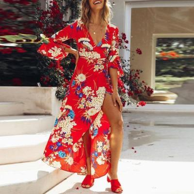 Explosive Printing Horn Sleeve Plus Size Dress