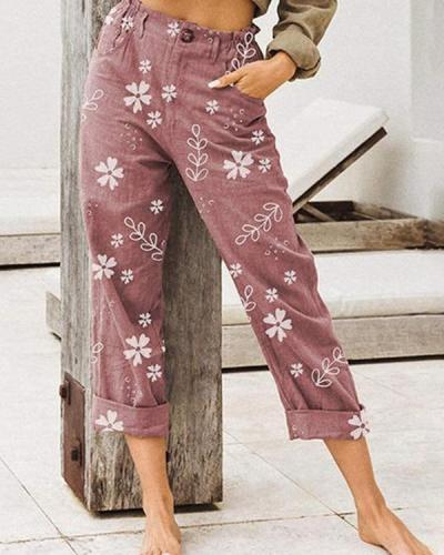 Loose Print Linen Elastic Waist Casual Wide Leg Pants Plus Size Wide Leg Pants Casual Vintage Pants