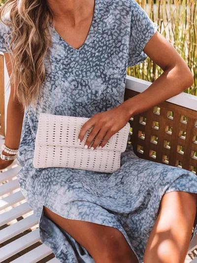 Gray Printed Short Sleeve Dresses