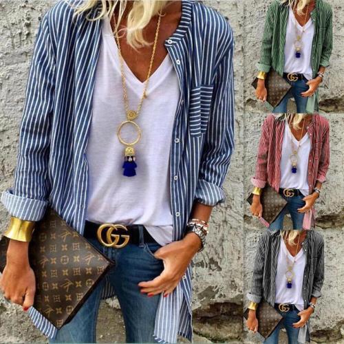 Long Sleeve Striped Shirt Women's Cardigans