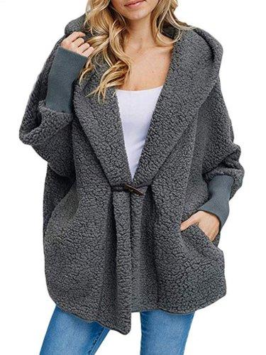 Shawl Collar Long Sleeve Solid Casual Faux fur Hoodie Coat