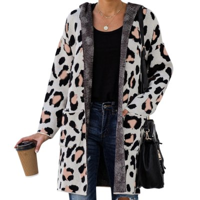 Long Sleeve Leopard Printed Knit Cardigan Coat Open Front Jackets Fashion Streetwear Hooded Sweater