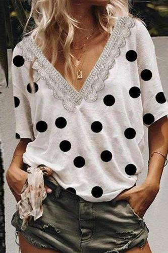 Lace Trim V Neck Short Sleeves Polka Dot T-shirt
