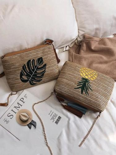 Women's Beach Embroidery Tassel Zipper Bag Handbag