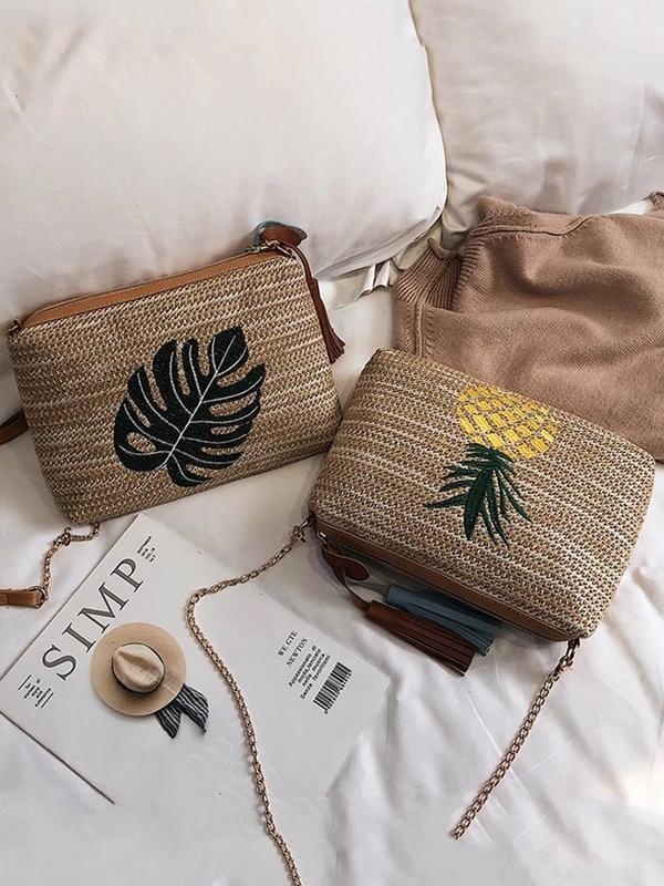 Women's Beach Embroidery Tassel Zipper Bag Handbag