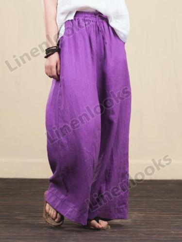 Women Linen Elastic Waist Loose Casual Wide Leg Pants