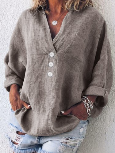 Cotton Linen Casual Buttoned Pockets Solid Long Sleeve Shirts & Blouses