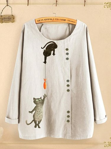 Cat Fish Print Shirt Round Neck Long Sleeve Cotton Linen Casual Blouse