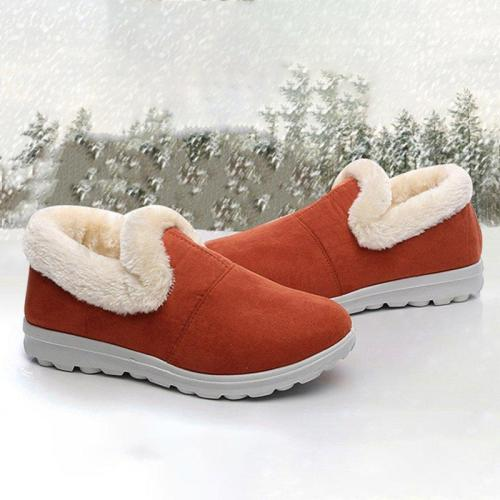 Fabric Flat Heel Boots Fur Lined Slip-on Winter Comfort Shoes