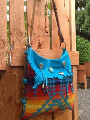Blue Boho Linen Women's Bags