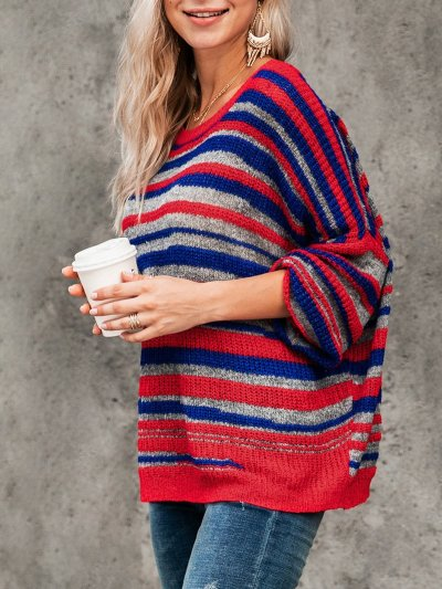 Basic Striped Scoop Neckline Sweater