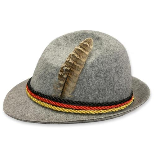 Traditional Oktoberfest Felt Hat German Alpine Cap Feather Decoration For Party