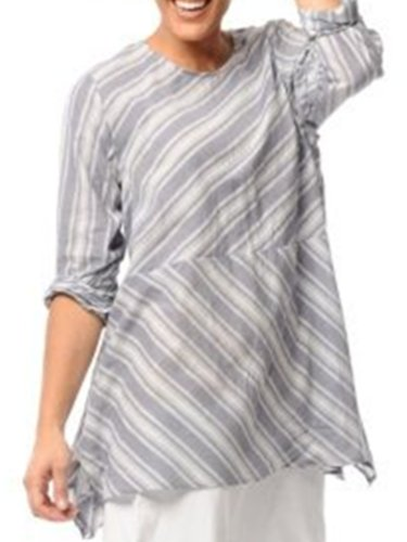 Grey-White1 Crew Neck Shift Casual Shirts & Tops