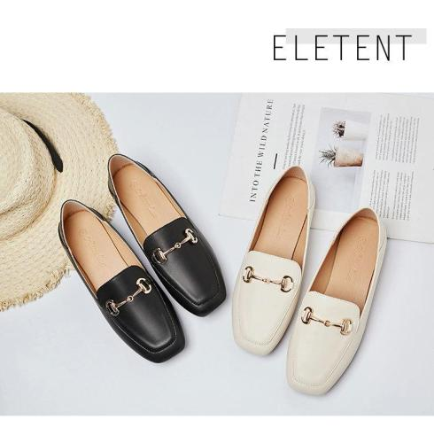 Square head shoes female flat