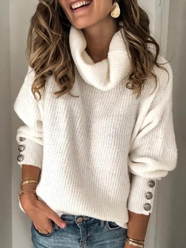 Casual Plus Size Cotton-Blend Vintage Turtleneck Long Sleeve Sweaters