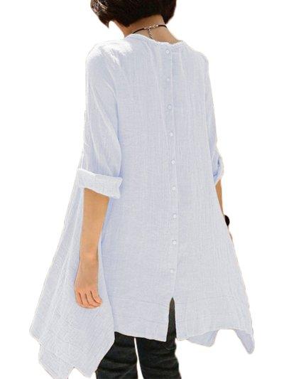 Asymmetric Long Sleeve Blouses&Shirt