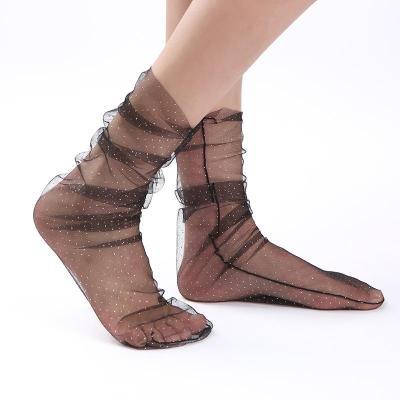 Fashion Star Lace Stockings Transparent Mesh Tulle Ladies Socks