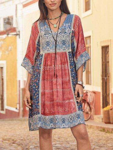 Plus Size Women Half Sleeve V-Neck Vintage Floral Casual Midi Dress