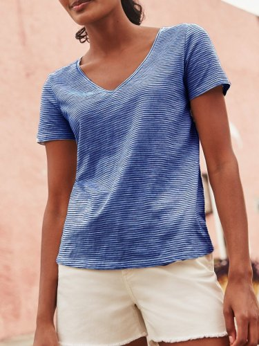 V Neck Short Sleeve Plain Cotton-Blend Shirts & Tops