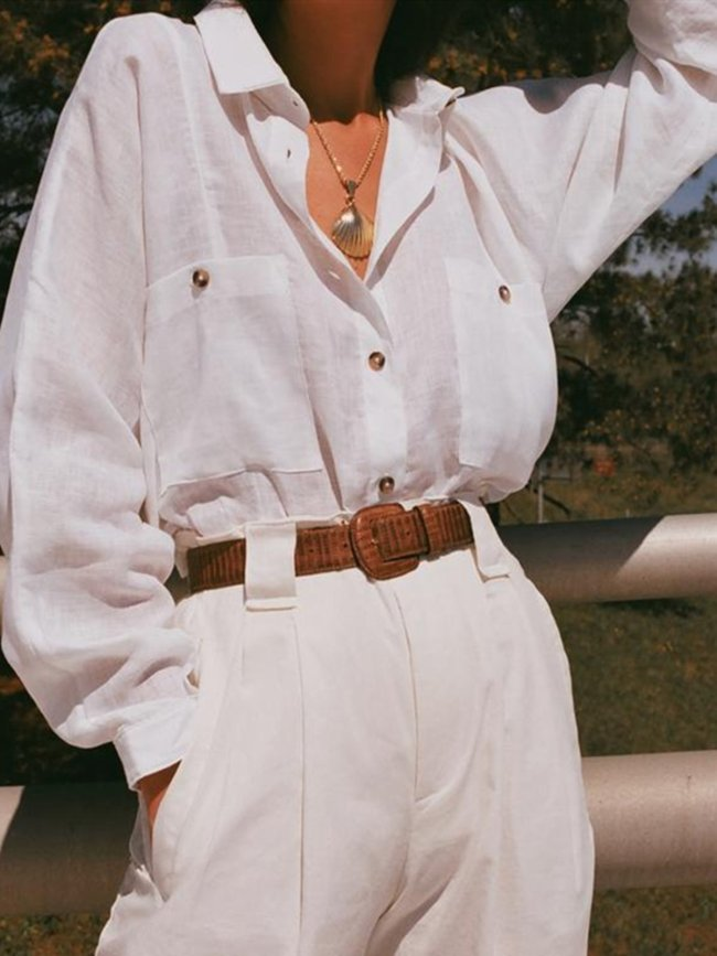 White Cotton Shirt Collar Holiday Plain Shirts & Tops