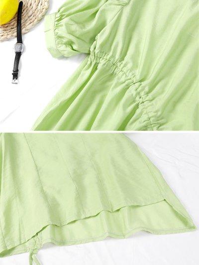 Diagonal Drawstring Lantern Sleeve Solid Short Sleeve Loose Design Casual Tops