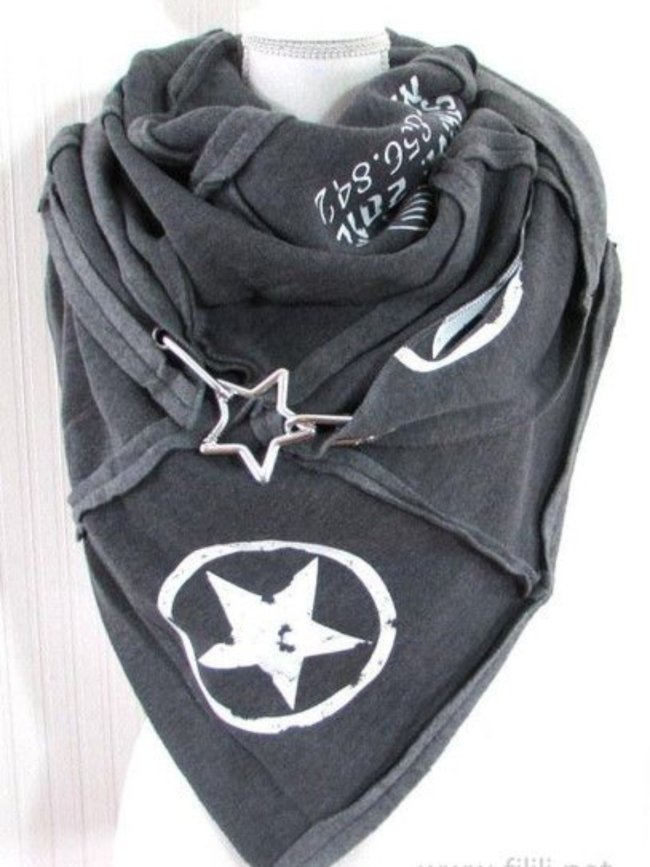 Gray Cotton-Blend Printed Scarves & Shawls
