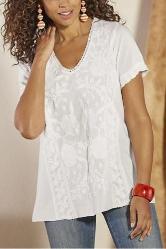 Linen V-neck Embroidery T-shirt