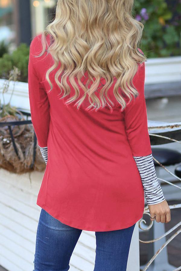 Striped Stitching Cowl Neck Irregular Hem T-shirts