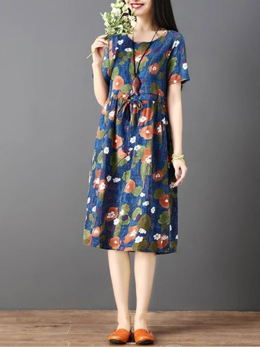 Vintage Print Abstract Short Sleeve Loose Casual Dress