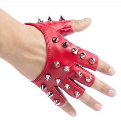 Women's semi-finger hip-hop gloves lady's punk rivet half finger leather gloves sexy dancing gloves R1900