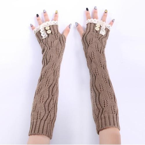 Women Knitted Long Gloves Lace Edge Button Twist Half Finger Mittens Hollow Fingerless Winter Arm Elbow Wrist Protector