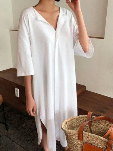 White Casual Plain Cotton Dresses