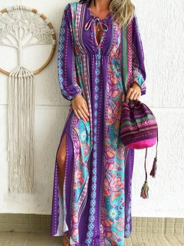 Bohemian cotton casual loose floral dress