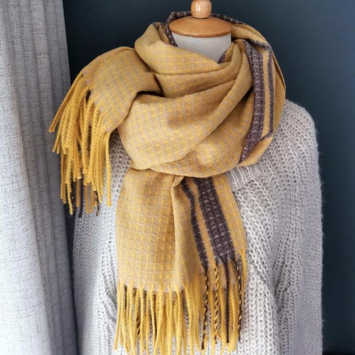 Autumn Winter Female Wool Plaid Scarf Women Long Shawl Wrap Blanket Warm Scarfs