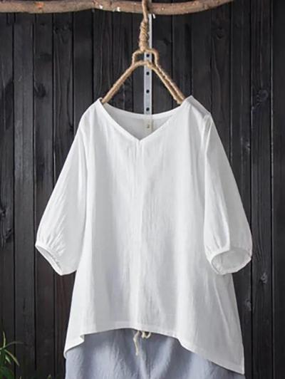 Casual Half Sleeve Cotton Shirts & Tops